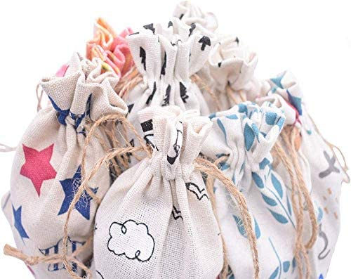 Petits Snacks ou Sacs Cadeaux Petits Bagages Sac Cadeau en Lin Avec Cordon 18 Sacs en Coton et Lin Pour le Rangement de Cadeaux