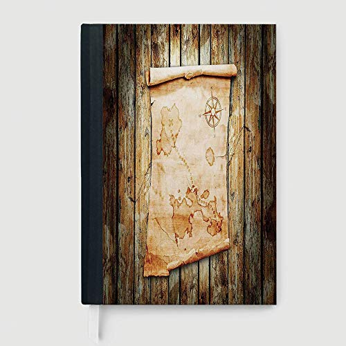 Hardcover,Island Map,Treasure Map on Rustic Timber X Marks the Spot of Gold Nautical Pirates Concept,96 Ruled Sheets,B5/7.99x10.02 (Timber Folder)