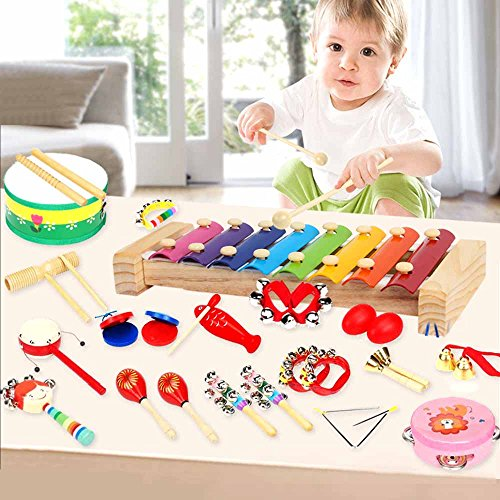 YOUDirect 18Pcs Kids Musical Instruments - Xylophone Set Percussion Toy Rhythm Band Set Drum Toy Kits for Toddlers Early Childhood Gift (Kit Sleigh)
