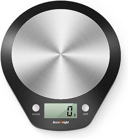 ACCUWEIGHT Báscula de Cocina Digital Balanza Alimentos Electrónica con Plataforma de Acero Inoxidable para Peso de Comida, 5 kg/11lbs: Amazon.es: Hogar