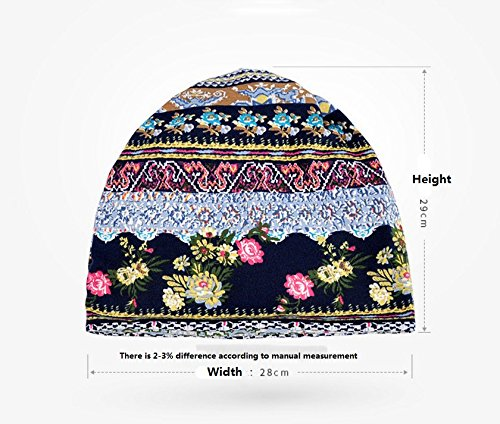 Womens Soft Cotton Boho Ethnic Flower Print Stripe Slouch Beanie Infinity  Scarf (Blue) at Amazon Women s Clothing store  71992fbaad00