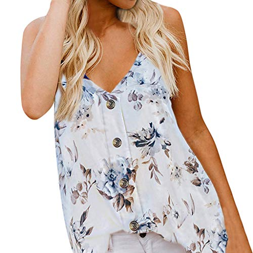 Cotton Print Teddies - Amlaiworld Womens Plus Size Tank Tops Camisole Top Sleeveless V Neck Button Floral Print Tee Top Loose Casual Shirts Blouse White