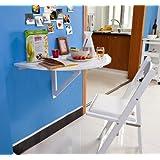 Sobuy Solid wood, wall-mounted, drop-leaf semi-circular table, FWT10-W