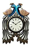 Traditional Two Peacock Design Antique Living Room Wooden Analog Watch(WD-09)