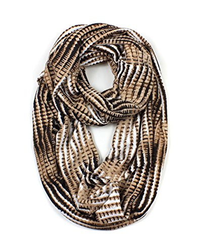 Stripe Knit Infinity Scarf - Jersey Knit Stripe Gradient Infinity Scarf (Khaki)