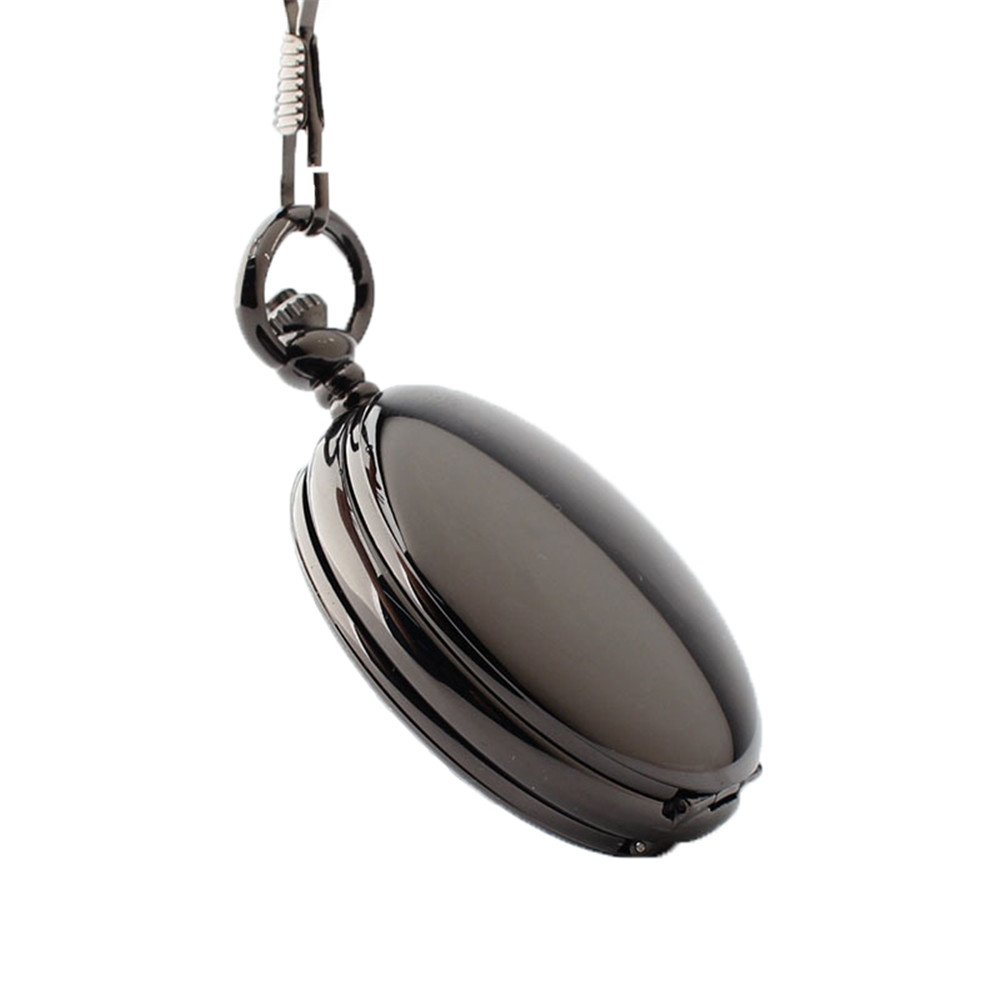Zxcvlina Classic Smooth Creative Black Mechanical Pocket Watch Boutique Smooth Watchcase Double Open Retro Unisex Pocket Watch with Chain Suitable for Gift Giving by Zxcvlina (Image #1)