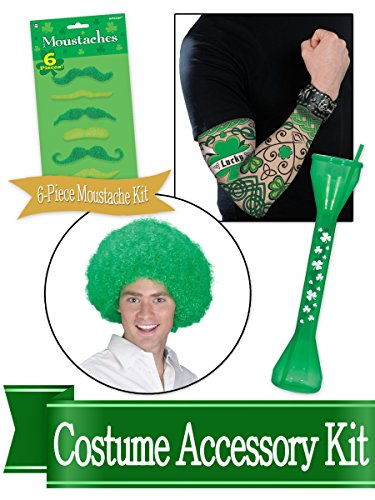 St Patricks Day Men's Dress Up and Drink Costume Accessory Bundle ()