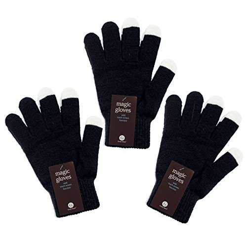 Unisex Touchscreen Warm Outdoor Winter Magic Plain Gloves ( Pack of 3 Black , One Size Fits All , Touch Screen and texting , Knit Magic Stretch Mittens for Men , Women and Children )