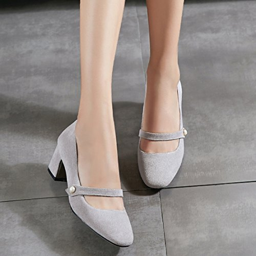 AIYOUMEI Damen Geschlossen Mary Jane Pumps mit 6cm Absatz Blockabsatz Bequem Sommer Wildleder Schuhe Grau