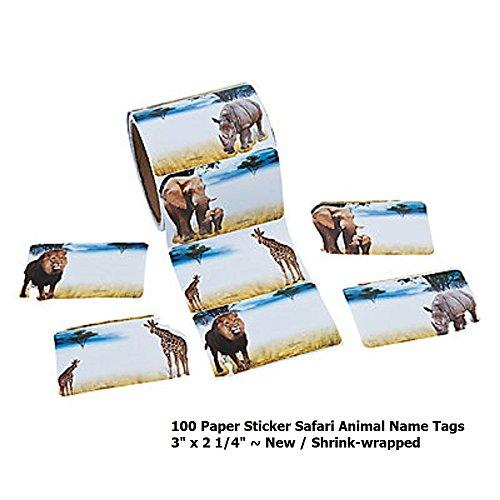 Safari Animal Name Tag Stickers ~ 3