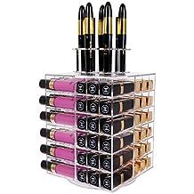 Lifewit Spinning Lipstick Tower Premium Acrylic Rotating Lipgloss Holder Makeup Organizer 81 Slot Vitreous Cosmetic Storage Box Solution Large