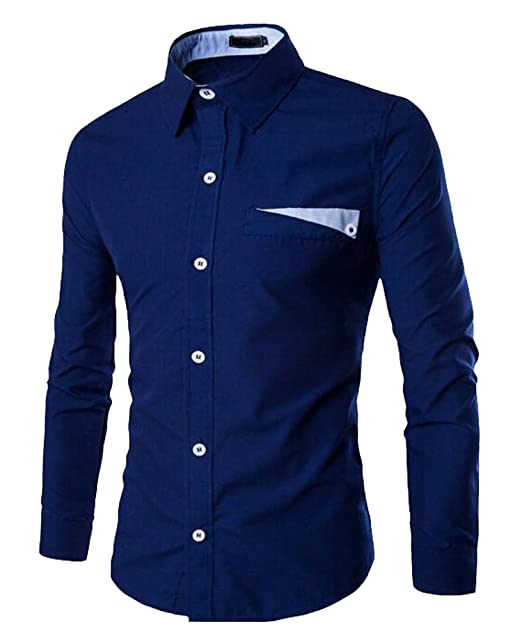 ISSHE Camisas Slim Fit Hombre Camisa Regular Fit Básica Cuello Clásico Camisas de Vestir Formal Caballero Camisas Vestidos… hwaAWddDUK
