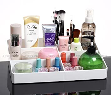 Superior Acrylic Cosmetic Makeup Organiser Holder Case Large Sized Compartments  Cosmetic Storage White