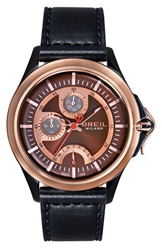 Breil TW1336 'Dome' Multifunction Black Leather Strap Men's Watch