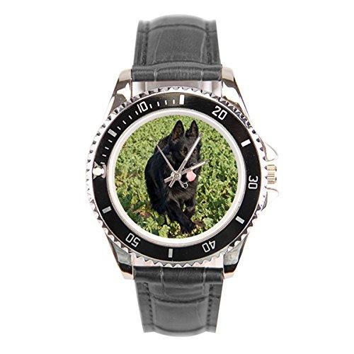 Negro pastor alemán reloj de pulsera
