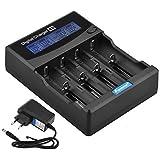Foxnovo F-4S 4-Slot Li-ion Ni-MH Ni-CD Audio Capacity Battery test rapido Intelligent LCD Caricabatteria con l'EU-plug adattatore 12V adattatore da auto per 26650, 22650, 18650, 18500, 18490, 17670, 17650, 17500, 16340, 14500, 10440 Ni-MH e Ni-CD A, AA, AAA, C, SC batterie ricaricabili Nero (4-Slot)