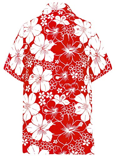 Funky La Hawaiana Spiaggia Frontale Stampa Rosso Ibisco Leela Stampato Floreale Fiore w301 Camicia Da Uomo Maniche Corte Tasca qBCSx5wBr