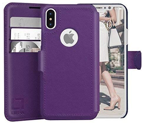 LUPA iPhone Xs Wallet case, iPhone X Wallet Case, Durable and Slim, Lightweight with Classic Design & Ultra-Strong Magnetic Closure, Faux Leather, Purple, for Apple iPhone Xs/X - Lynn Cover