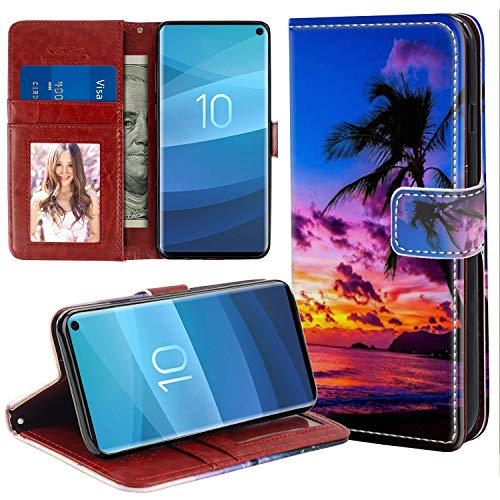 YaoLang Samsung Galaxy S10e Wallet Case, Sunset Palm Tree PU Leather Standable Wallet Phone Case with Card Holder Magnetic Hold for Samsung Galaxy S10 Lite