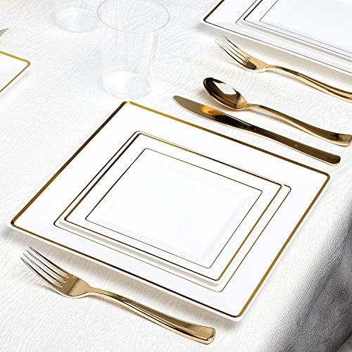 Kaya Collection - Square White and Gold Disposable Plastic Dinnerware Party Package - 60 Person Package - Includes Dinner Plates, Salad/Dessert Plates, Gold Cutlery and Tumblers