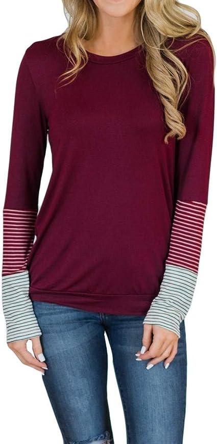 Meaneor Damen Halb /Ärmeln Gestreifte Shirts Bluse Sommer Oberteile Blusen Tops Sommer Baumwolle Basic T-Shirt Langarmshirt
