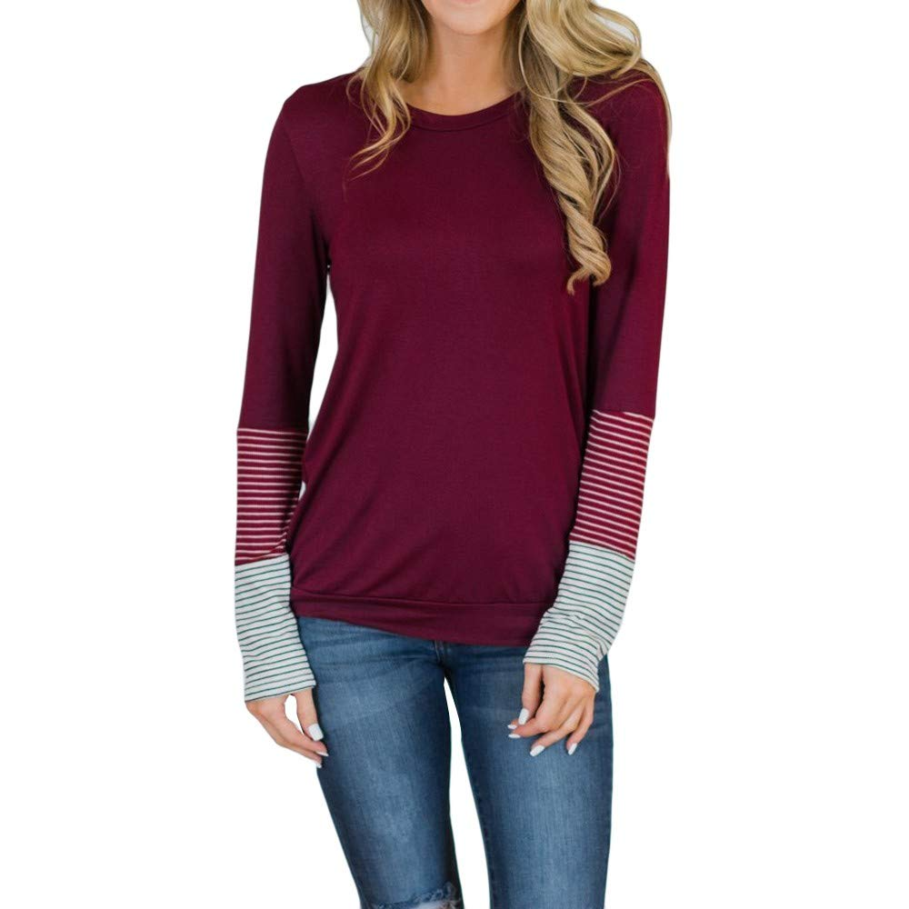 Hosamtel Fashion Womens T-Shirt Long Sleeve Patchwork Button Tie Pullover Ladies Casual Tops Sweatshirt Blouse Top Red