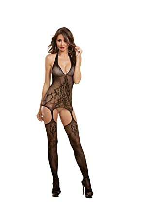 e921c9ccac9 Dreamgirl One Size Sheer Halter Bodystocking  Amazon.co.uk  Clothing