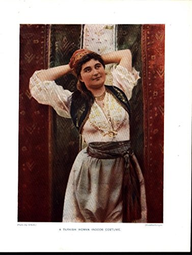 Turkish Woman Indoor Costume c.1910 antique color lithograph (Costumes 1910 Ladies)