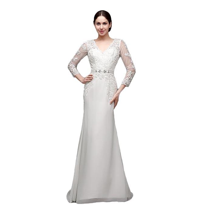 Engerla - Vestido de novia de boda, tipo sirena, cuello en V, manga
