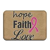 nuohaoshangmao Hope Faith Love Non-slip Indoor/Outdoor Door Mat Rug For Health And Wellness Toilet Bathroom Doormat 23.6''x 15.7''