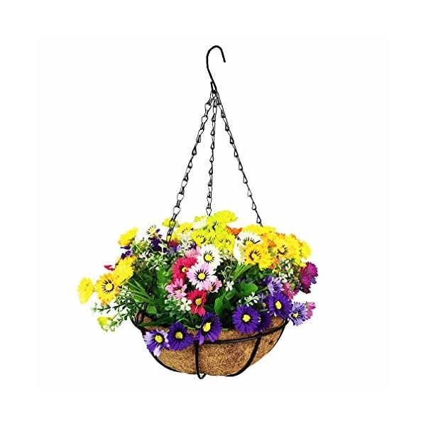 Mynse Fake Daisy Flower Hanging Basket for Home Balcony Wedding Indoor Decoration Hanging Basket Artificial Daisy Flowers Multi-Color (Asmall Basket and Artificial Flowers)