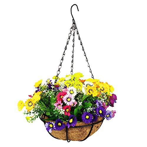 (Mynse Fake Daisy Flower Hanging Basket for Home Balcony Wedding Indoor Decoration Hanging Basket Artificial Daisy Flowers Multi-Color (Big Basket and Artificial)