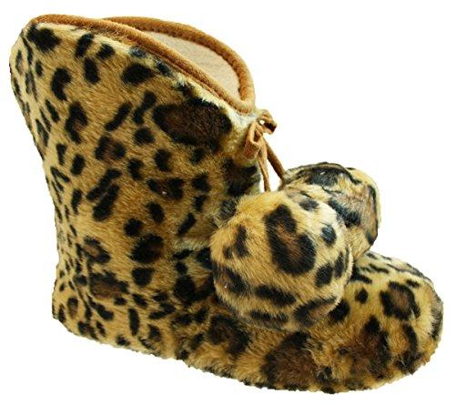 Cálido, Para Dama Estampado Leopardo / Neón Brillante Peludo / Bolso Botón De Madera Botas Tipo Pantufla 3- 8 Rosa
