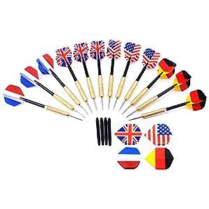 GWHOLE 12 Dartpfeile Steeldarts mit unterschiedlichen Nationalfahnen,...