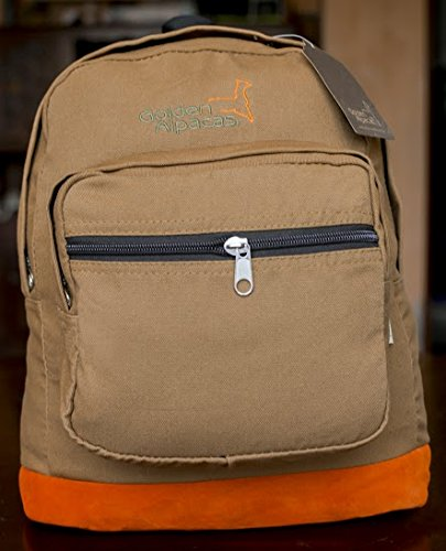 Golden Alpacas Backpack Canvas Alpaca Leather Orange Beige Limited Edition