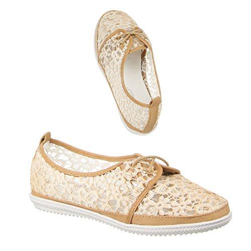 Ital-Design Damen Schuhe, ZH68-5, Halbschuhe Beige