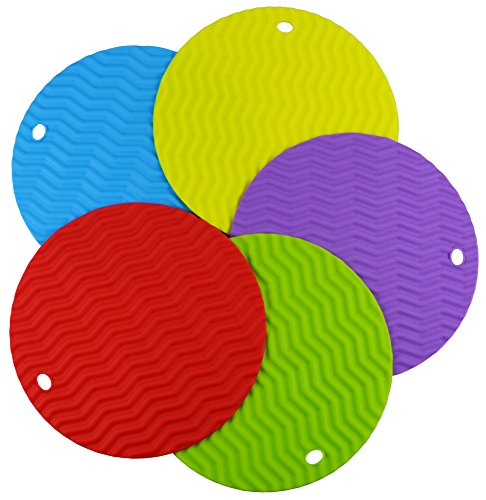 Baicfquk Silicone Trivet Mat Hot Pad Pot Holder , Insulated,Heat Resistant Hot Pads and Coasters Cup Insulation Mat,Oven Mitt Set of 5 Assorted Colors, pack of 5,Diameter: 7.68'' ,Circle,