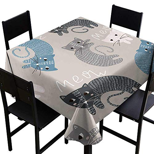 Zoisy Elegance Engineered Tablecloth Seamless Childish Pattern with Cute Cats Creative Kids Texture for Fabric Wrapping Textile Wallpaper Apparel Vector Illustration Great for Buffet Table W63 x L63
