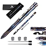Tactical Pen Self Defense Tool for Survival - Titanium Badass EDC Pen - Tactical Flashlight, Ballpoint Pen, Glass Breaker, Multitool - 2 Inks & 3 Batteries Sets - Gift Boxed