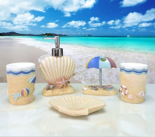 (Yiyida Creative Resin Bathroom Set 5pcs in Sea Beach Style Tumbler Soap dish Soap Dispenser Toothbrush)