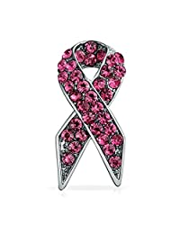 Pink Ribbon Pin Brooch Support Breast Cancer Awareness Pink Rhinestones Silver Plated Alloy