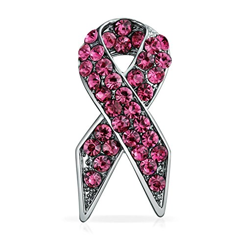 Bling Jewelry Pink Ribbon Breast Cancer Survivor Pink Pin Rhinestones Brooch for Women Enamel Silver Plated