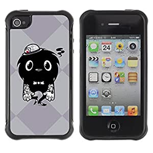 Hybrid Anti-Shock Defend Case for Apple iPhone 4 4S / Cool Tattoo Monster