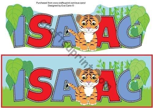 Cute Tiger ISAAC Name Plate by Eva Cano