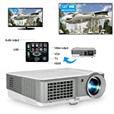 LCD Home Cinema Theatre Projector Portable LED 2600 Lumen Outdoor Indoor Movies Gaming Projector Support HD 720P 1080P HDMI MHL Compatible with Cell Phone DVD Player Playstation Xbox TV Android Box