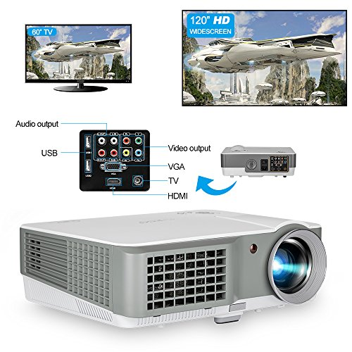 No Theater Lens Projector (LCD Home Cinema Theatre Projector Portable LED 2600 Lumen Outdoor Indoor Movies Gaming Projector Support HD 720P 1080P HDMI MHL Compatible with Cell Phone DVD Player Playstation Xbox TV Android Box)