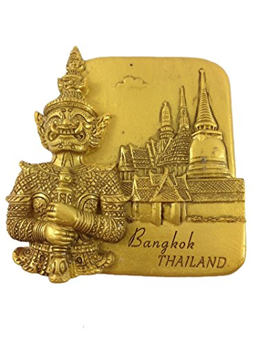GOLD-LOOK FINISHING Antique Tample Bangkok Thailand Souvenir 3d High Quality Resin 3D fridge Refrigerator Thai Magnet Hand Made Craft V-007