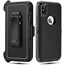 iPhone X Case,iPhone X Belt Clip Case FOGEEK iPhone X Heavy Duty Kickstand Cover [Support Wireless Charging] [Dust-Proof] [Shockproof]  PC+TPU for iPhone X 5.8 inch (Black)