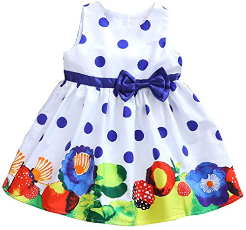 Jup'Elle Girls Dress Sleeveless 100% Cotton Polka Dots Floral Print Todder Clothes Party Little Girl Casual Dresses Size 8