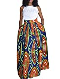 JomeDesign Women's African Floral Print Casual Pleated Dress A Line Maxi Skirt, Red Geo, M